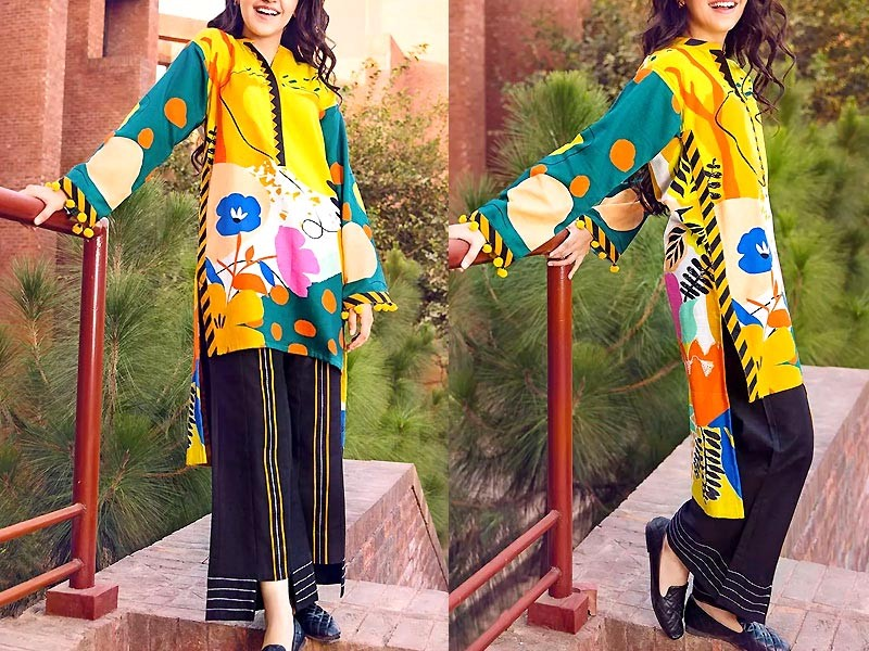 2-Pcs Unstitched Printed Lawn Dress 2021