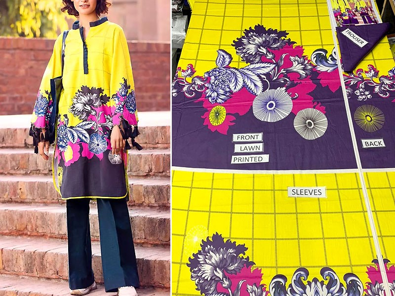 2-Pcs Unstitched Printed Lawn Suit 2021