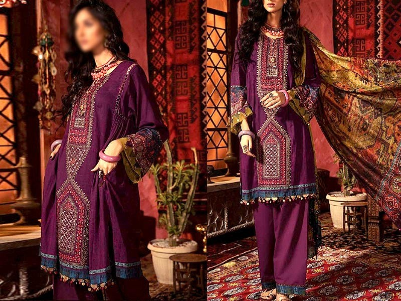 Embroidered Swiss Lawn Suit with Swiss Lawn Dupatta