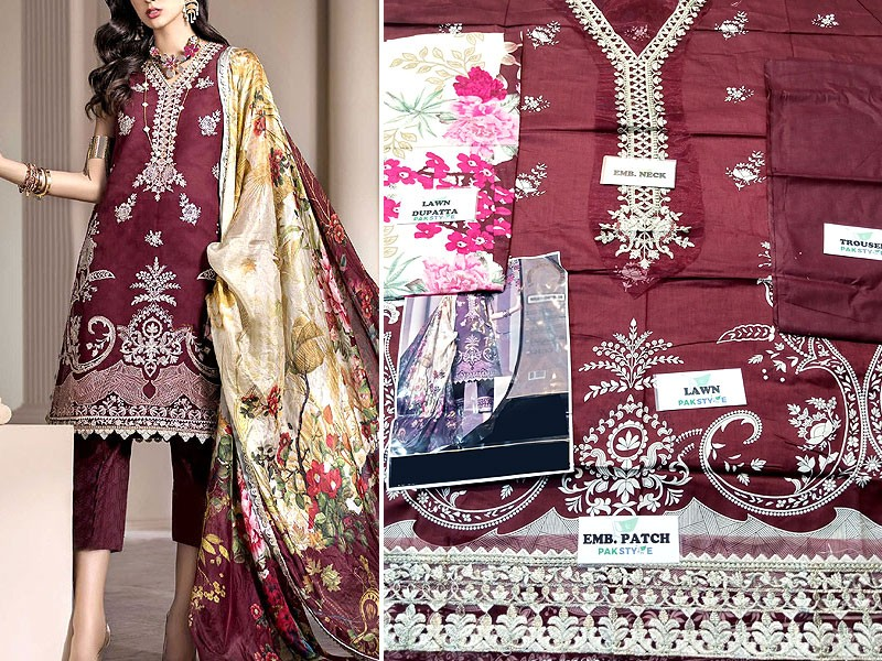 Embroidered Lawn Dress 2021 with Lawn Dupatta