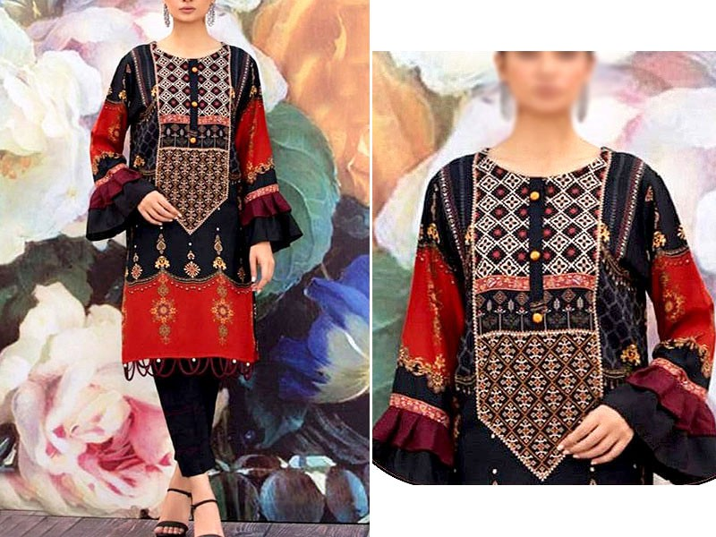 Embroidered Black Lawn Suit 2021 with Chiffon Dupatta