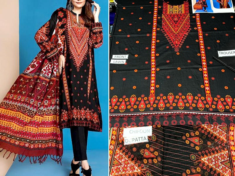 Embroidered Black Lawn Dress 2021 with Chiffon Dupatta