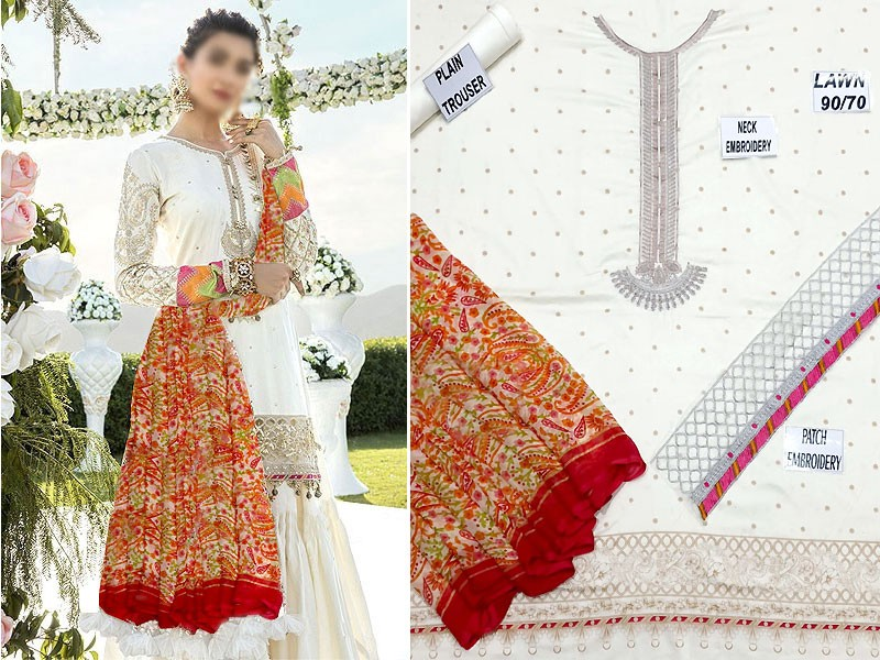 Embroidered White Lawn Dress 2021 with Chiffon Dupatta