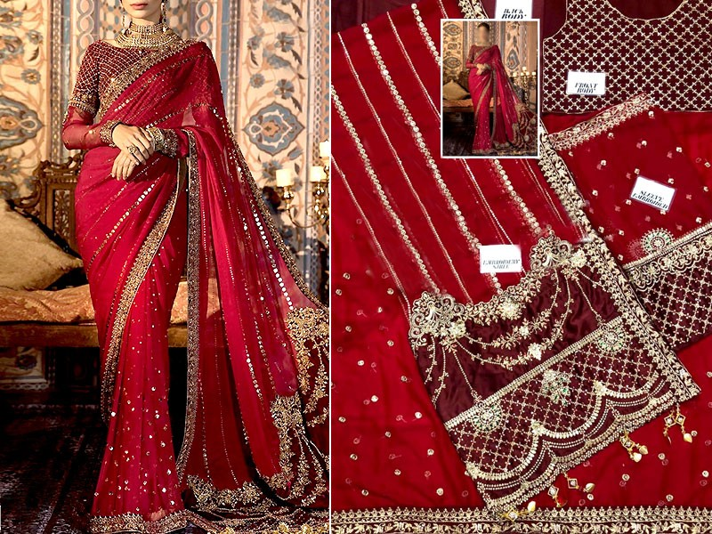 Handwork Heavy Embroidered Chiffon Saree with Inner