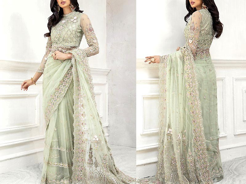 Heavy Embroidered Net Saree with Inner