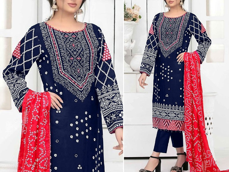 Traditional Mirror Work Embroidered Cotton Dress with Chiffon Dupatta Price in Pakistan