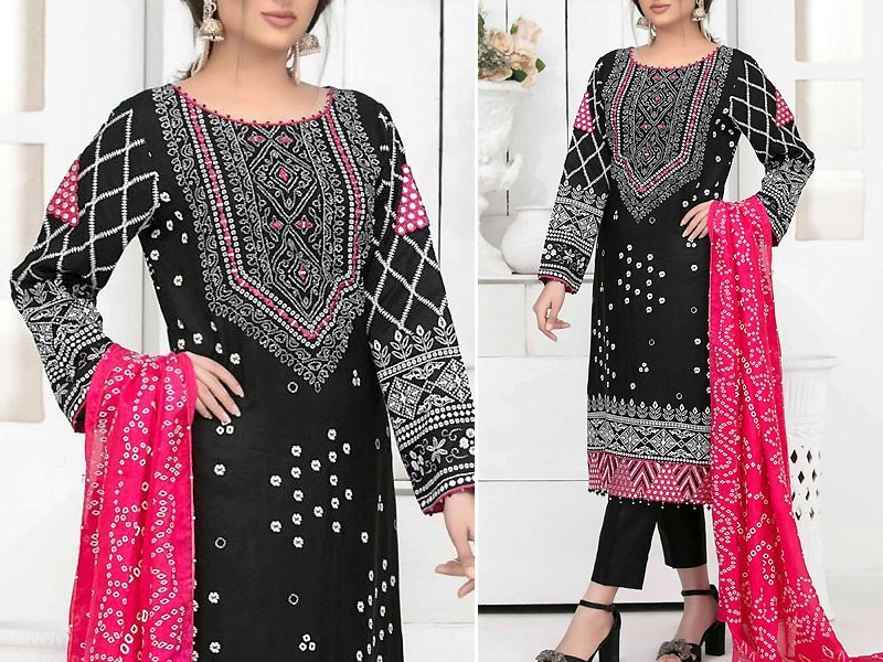 Mirror Work Embroidered Black Cotton Dress with Silk Dupatta