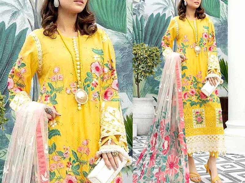 Luxury Schiffli Embroidered Lawn Dress 2021 with Embroidered Net Dupatta Price in Pakistan
