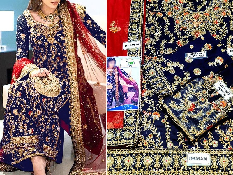 Heavy Embroidered Navy Blue Chiffon Wedding Dress with Net Dupatta