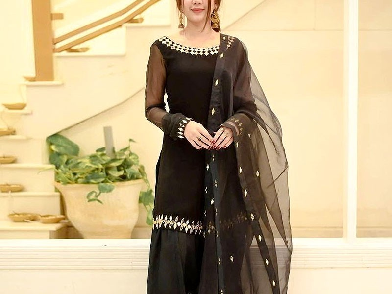 Mirror Work Embroidered Black Chiffon Suit with Net Dupatta Price in Pakistan