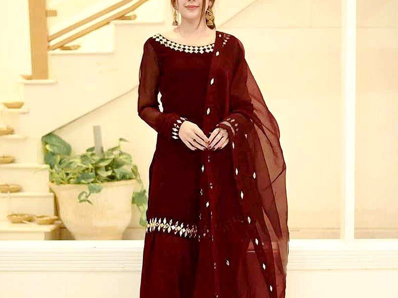 Mirror Work Embroidered Maroon Chiffon Suit with Net Dupatta Price in Pakistan