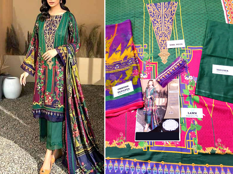 Luxury Embroidered Lawn Suit 2021 with Chiffon Dupatta