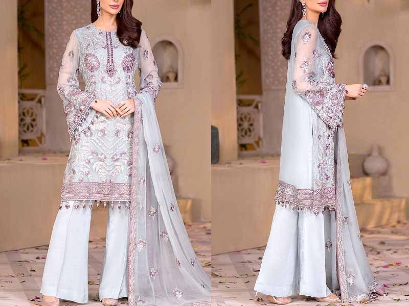 Indian Embroidered Blue Chiffon Maxi Dress Price in Pakistan