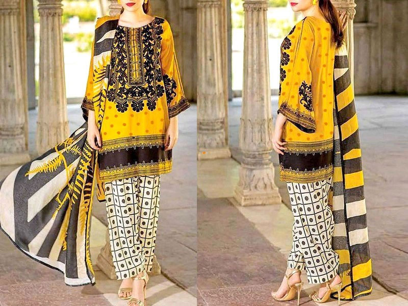Heavy Embroidered Lawn Suit 2021 with Chiffon Dupatta