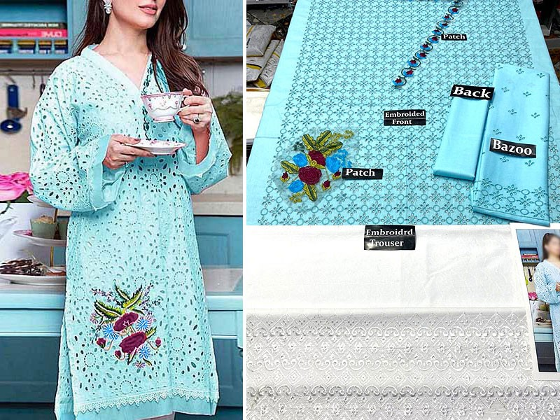 2-Pcs Schiffli Embroidered Lawn Suit 2021 with Embroidered Trouser