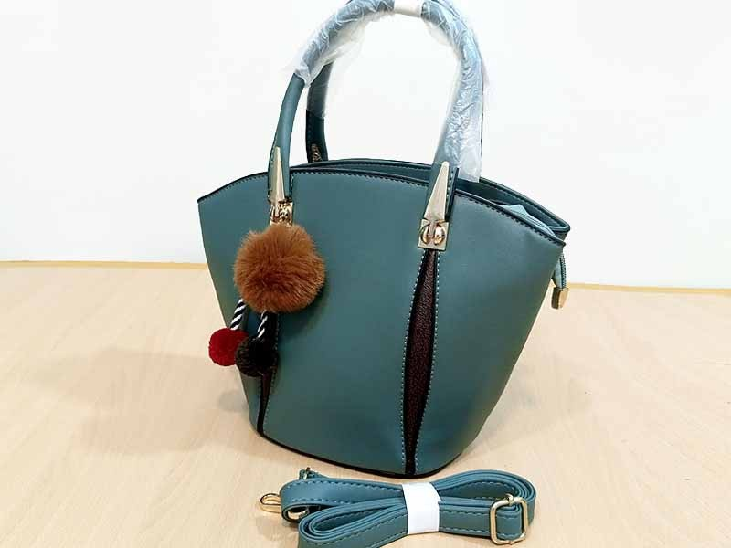 Elegant Women's Satchel Bag with Hanging Pom Pom