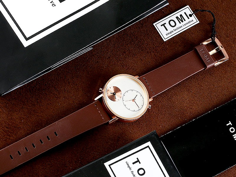 Original Tomi Leather Strap Men's Watch with Gift Box