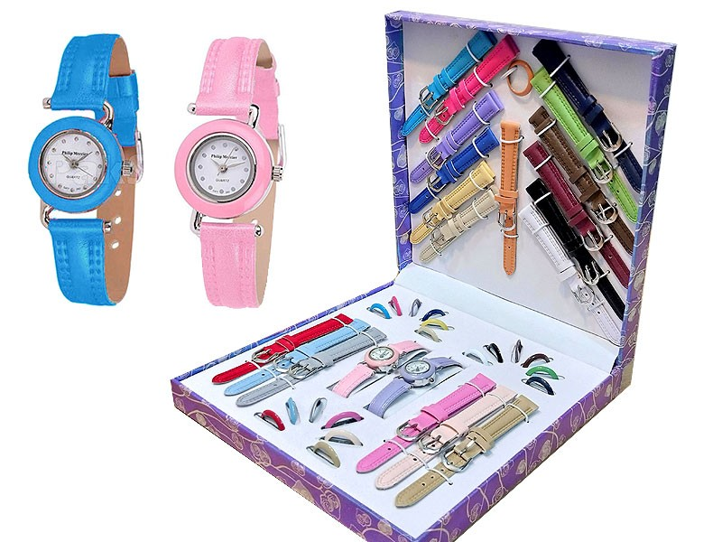 Double Interchangeable Ladies Watches Gift Set - 21 Dial & Strap