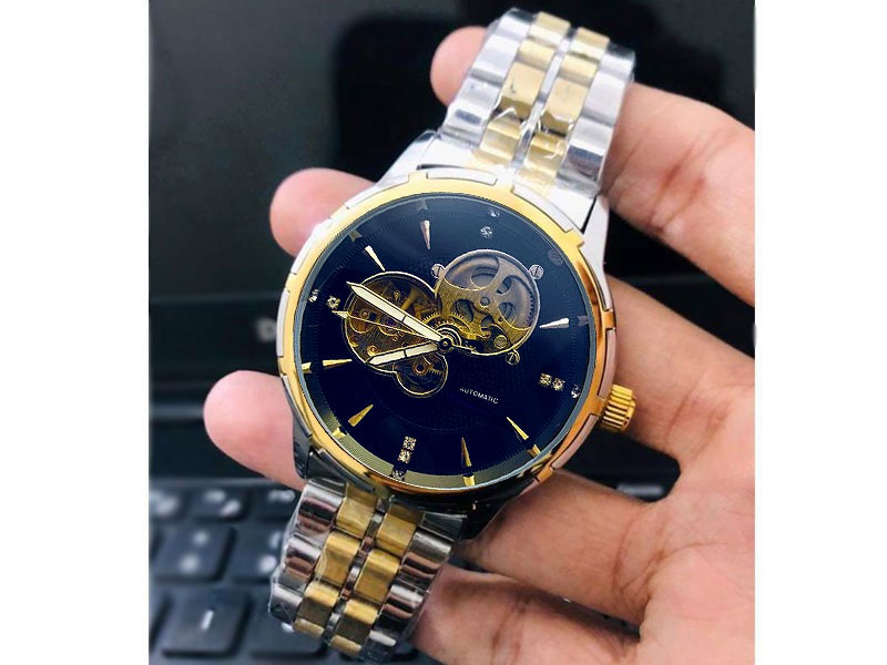 Men's Skeleton Automatic Two Tone Stainless Steel Watch - Blue Dial