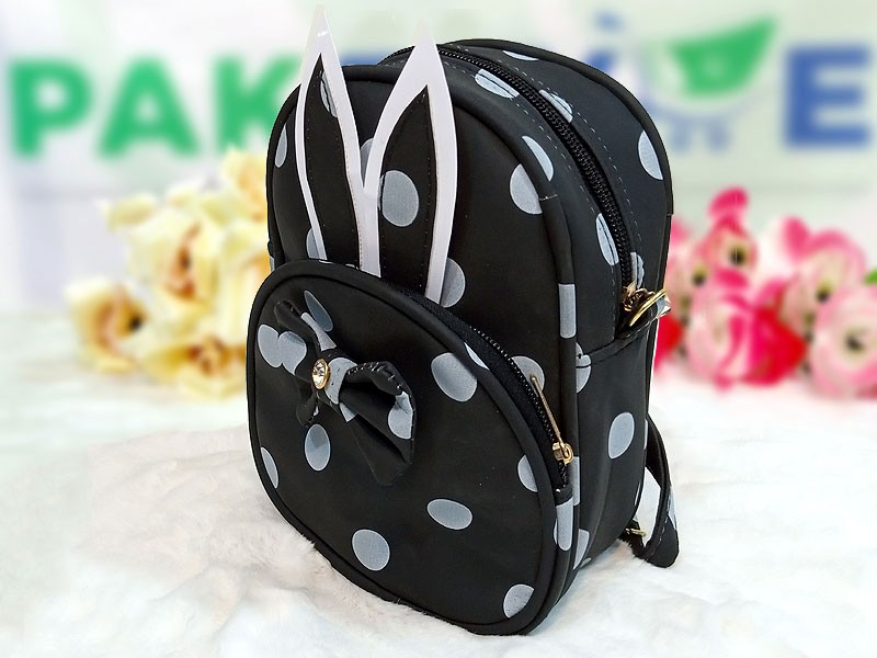 Polka Dots Mini Backpack for Kids - Black Price in Pakistan
