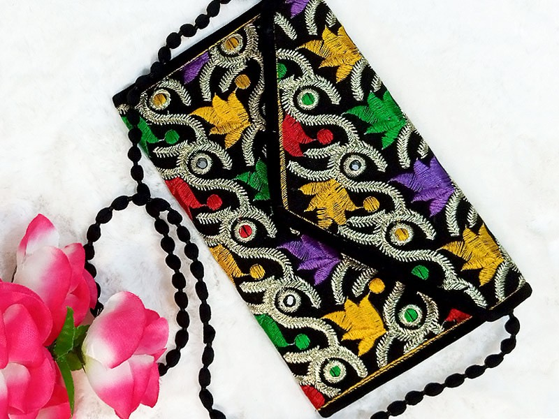 Traditional Style Embroidered Clutch Purse for Girls
