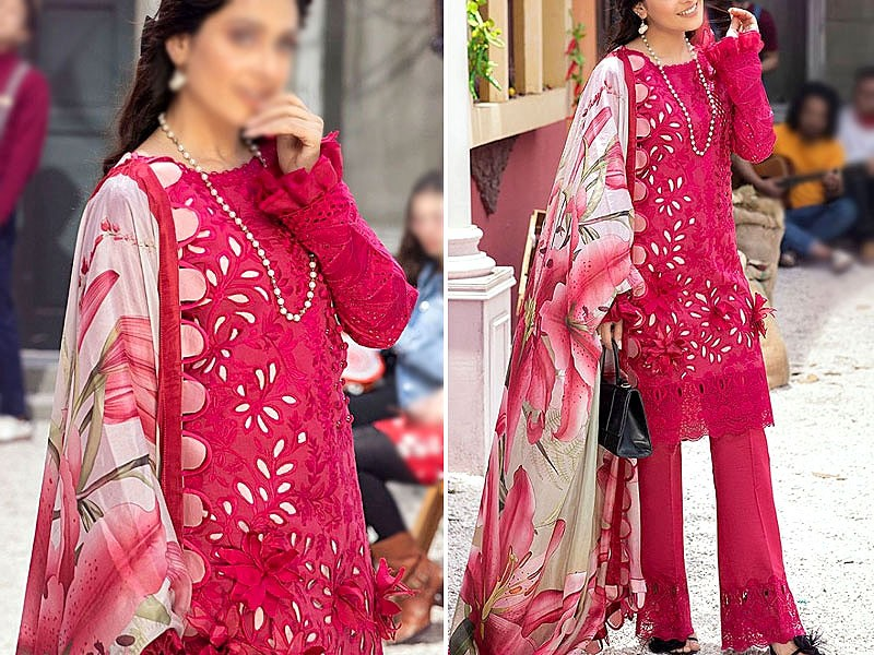 Luxury Schiffli Embroidered Eid Lawn Dress 2021 with Silk Dupatta Price in Pakistan