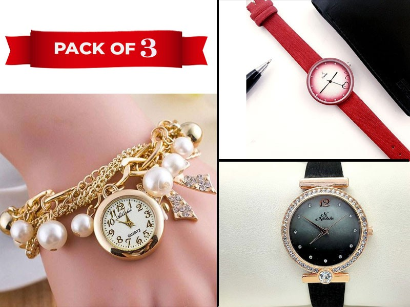 Pack of 3 Fashion Watches for Girls Price in Pakistan