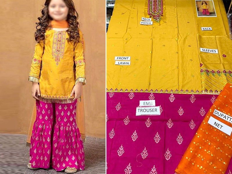 Kids 3-Pcs Embroidered Eid Lawn Suit 2021 with Net Dupatta