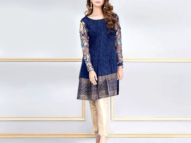 2-Pcs Embroidered Lawn Dress 2021 with Embroidered Trouser Price in Pakistan
