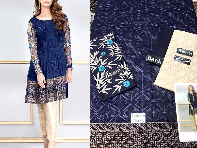 2-Pcs Heavy Embroidered Blue Lawn Dress 2021 with Embroidered Trouser