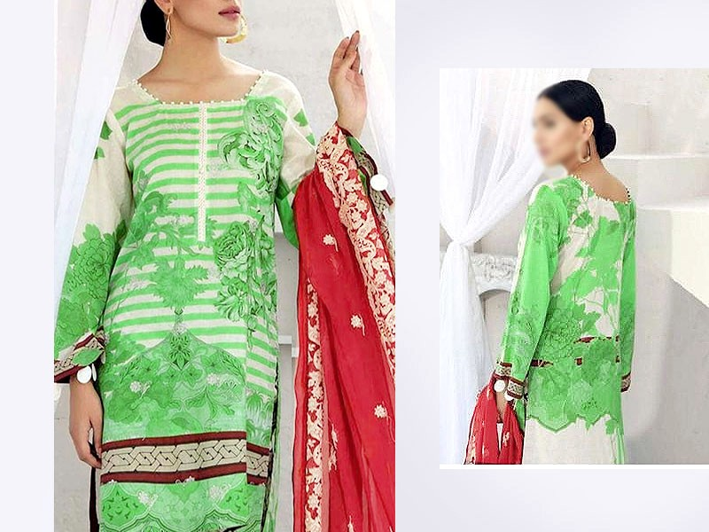 Embroidered Lawn Suit 2021 with Chiffon Dupatta Price in Pakistan