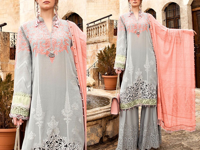 Luxury Embroidered Eid Lawn Suit 2021 with Chiffon Dupatta Price in Pakistan
