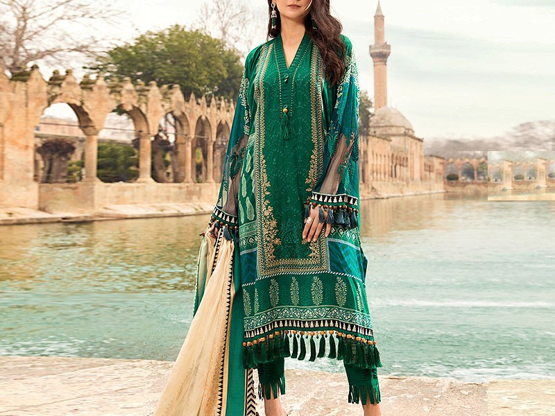 Luxury Schiffli Panel Embroidered Eid Lawn Dress 2021 with Chiffon Dupatta Price in Pakistan