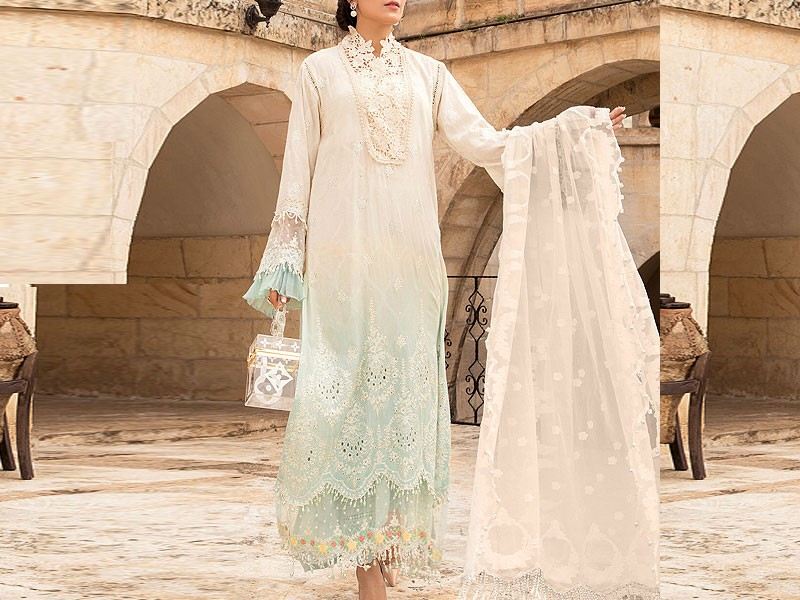 Luxury Schiffli Embroidered Eid Lawn Dress 2021 with Chiffon Dupatta Price in Pakistan