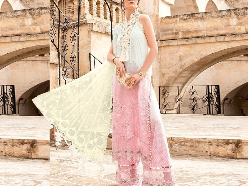 Luxury Schiffli Embroidered Eid Lawn Suit 2021 with Chiffon Dupatta Price in Pakistan