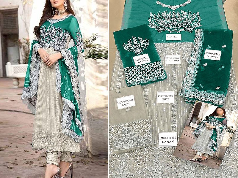 Heavy Embroidered Net Dress with Embroidered Net Dupatta