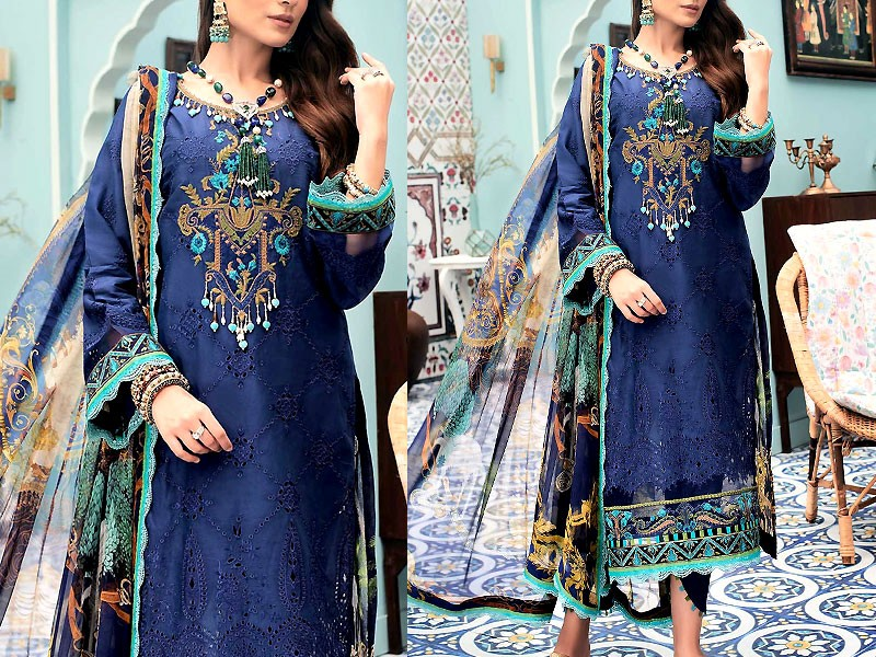 Luxury Schiffli Embroidered Lawn Dress with Embroidered Silk Dupatta Price in Pakistan