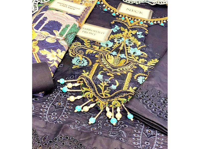 Luxury Schiffli Embroidered Lawn Dress with Embroidered Silk Dupatta