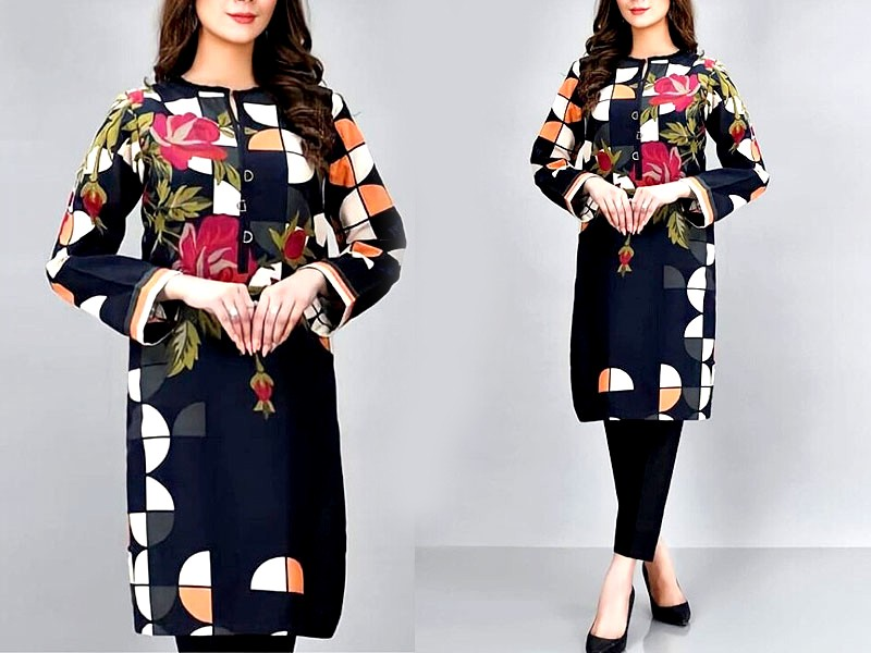 Trendy Embroidered Black Lawn Dress 2021 with Chiffon Dupatta Price in Pakistan