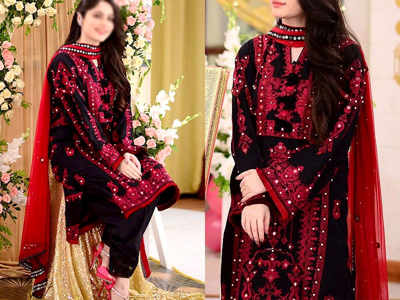 Traditional Mirror Work Embroidered Lawn Dress with Embroidered Bamber Chiffon Dupatta Price in Pakistan