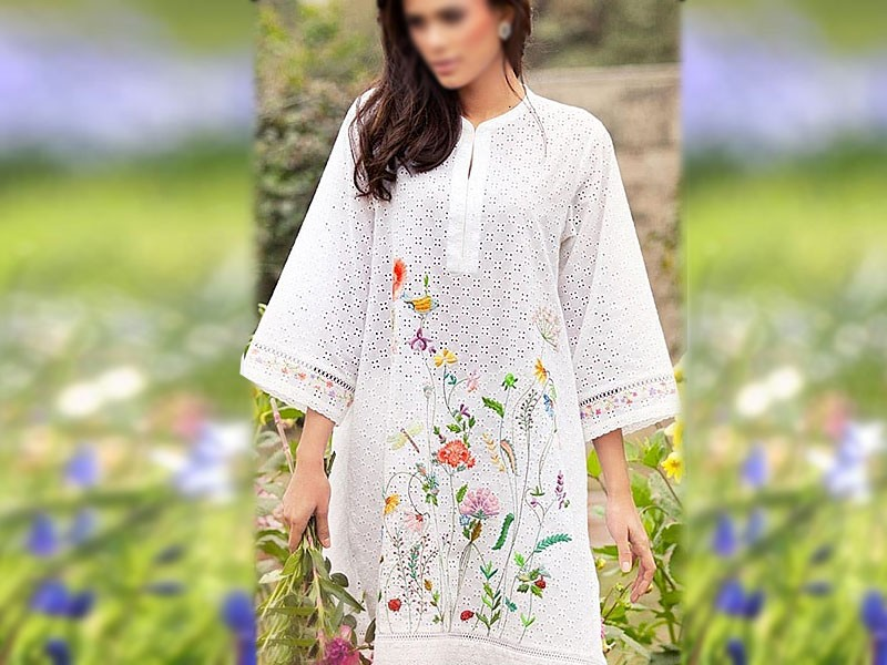 Decent 2-Pcs Schiffli Embroidered Lawn Dress 2021 Price in Pakistan