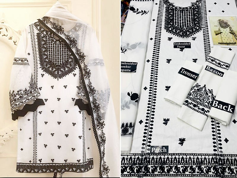 Heavy Embroidered Cotton Lawn Dress with Embroidered Bamber Chiffon Dupatta Price in Pakistan