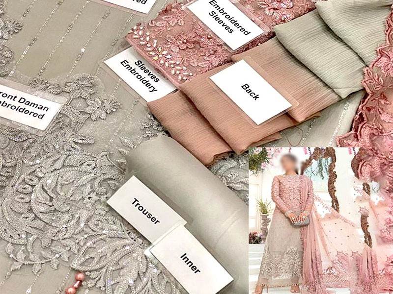 3D & Handwork Heavy Embroidered Ombre Style Chiffon Wedding Dress 2021