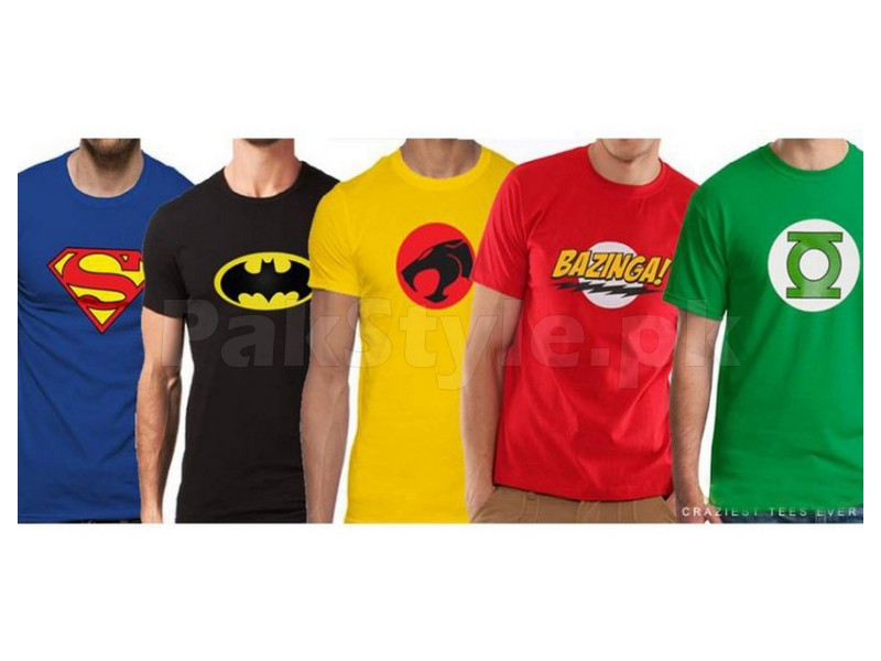 a pack of 5 super hero t shirts price in pakistan m002576. Black Bedroom Furniture Sets. Home Design Ideas