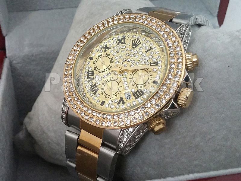 Stone Studed Two Tone Winner 24 Watch