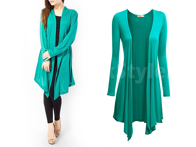 Ladies Green Cotton Jersey Shrug