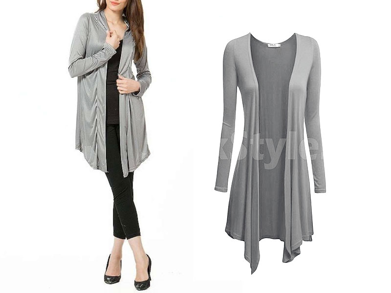 Women's Grey Cotton Jersey Shrug
