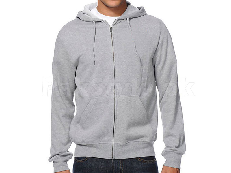 Plain Zip-Up Hoodie - Grey