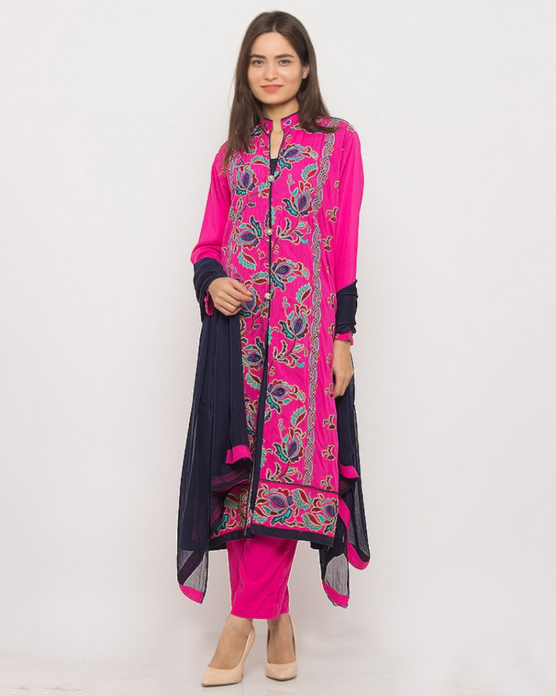 Ladies ready made designer embroidered dress price in