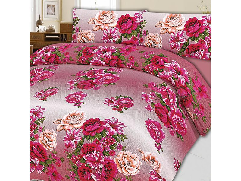 Pink Flower King Size Bed Sheet